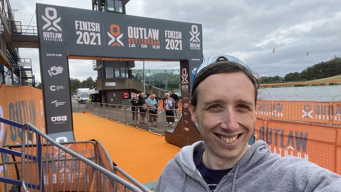 Outlaw triathlon finish line