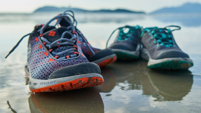 Running shoes on the beach